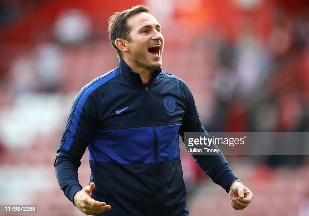 Frank Lampard manager of Chelsea celebrates victory after the Premier League match between Southampton FC and Chelsea FC at St Mary's Stadium on...