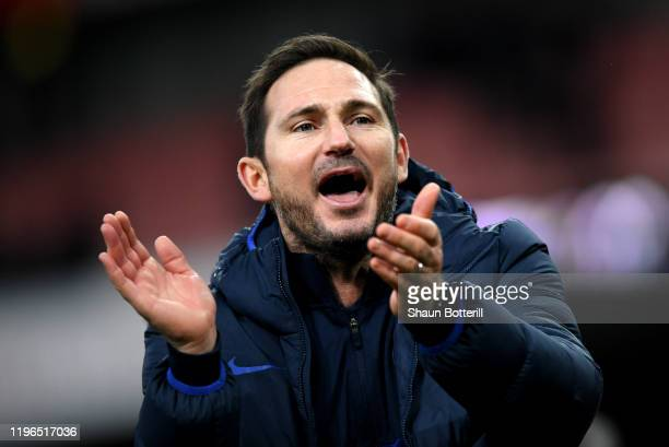 Frank Lampard Manager of Chelsea celebrates victory during the Premier League match between Arsenal FC and Chelsea FC at Emirates Stadium on December...