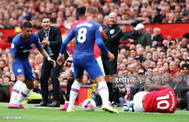 Frank Lampard manager of Chelsea during the Premier League match between Manchester United and Chelsea FC at Old Trafford on August 11 2019 in...