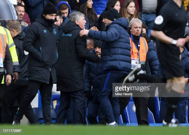 Frank Lampard Manager of Chelsea embraces Carlo Ancelotti Manager of Everton after the Premier League match between Chelsea FC and Everton FC at...