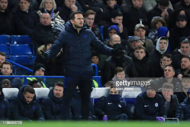 Frank Lampard Manager of Chelsea gives his team instructions during the Premier League match between Chelsea FC and Southampton FC at Stamford Bridge...
