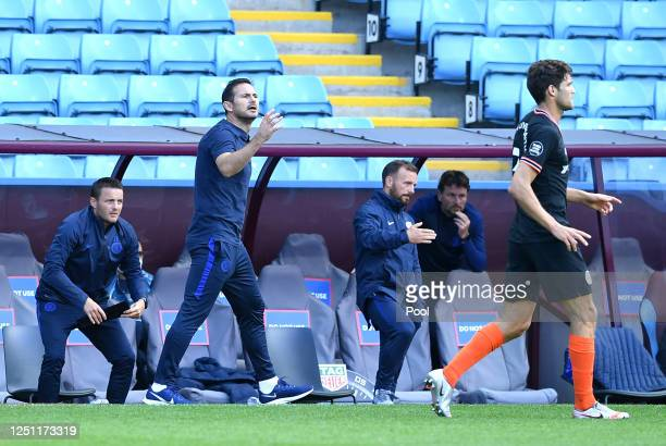 Frank Lampard Manager of Chelsea gives his team instructions during the Premier League match between Aston Villa and Chelsea FC at Villa Park on June...