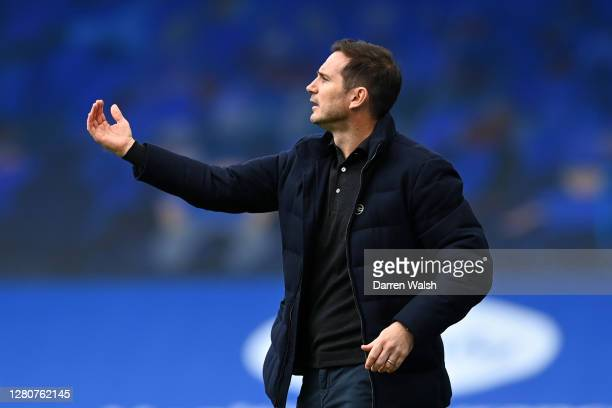 Frank Lampard Manager of Chelsea gives his team instructions during the Premier League match between Chelsea and Southampton at Stamford Bridge on...