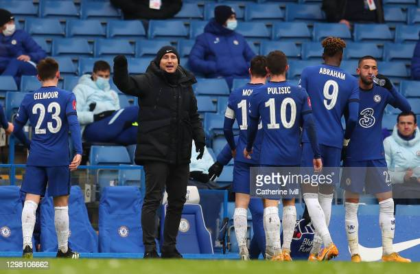Frank Lampard, Manager of Chelsea gives instructions to their side during The Emirates FA Cup Fourth Round match between Chelsea and Luton Town at...
