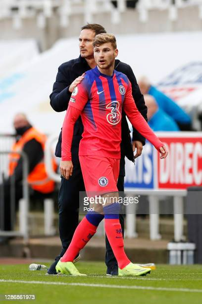 Frank Lampard Manager of Chelsea interacts with Timo Werner of Chelsea during the Premier League match between Newcastle United and Chelsea at St...