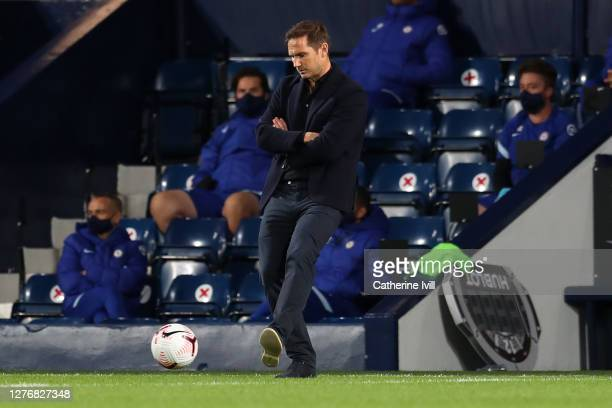 Frank Lampard Manager of Chelsea kicks a ball during the Premier League match between West Bromwich Albion and Chelsea at The Hawthorns on September...