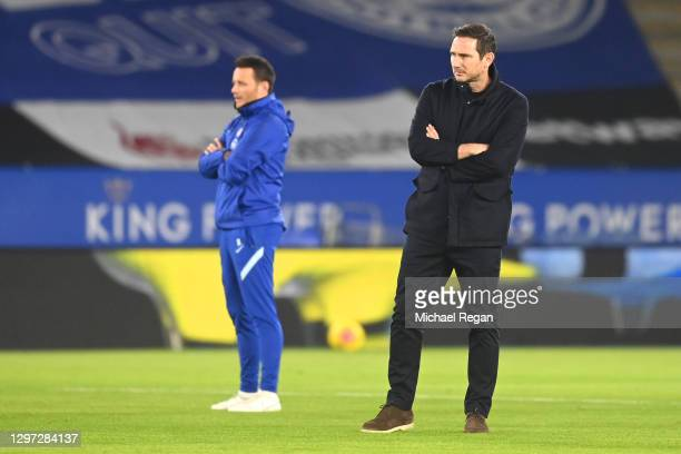Frank Lampard, Manager of Chelsea looks on ahead of the Premier League match between Leicester City and Chelsea at The King Power Stadium on January...