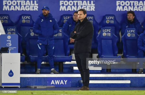 Frank Lampard, Manager of Chelsea looks on as he watches play during the Premier League match between Leicester City and Chelsea at The King Power...