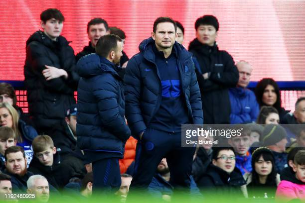 Frank Lampard Manager of Chelsea looks on during the Premier League match between Everton FC and Chelsea FC at Goodison Park on December 07 2019 in...