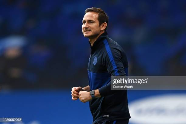 Frank Lampard, Manager of Chelsea looks on during the Premier League match between Chelsea FC and Wolverhampton Wanderers at Stamford Bridge on July...