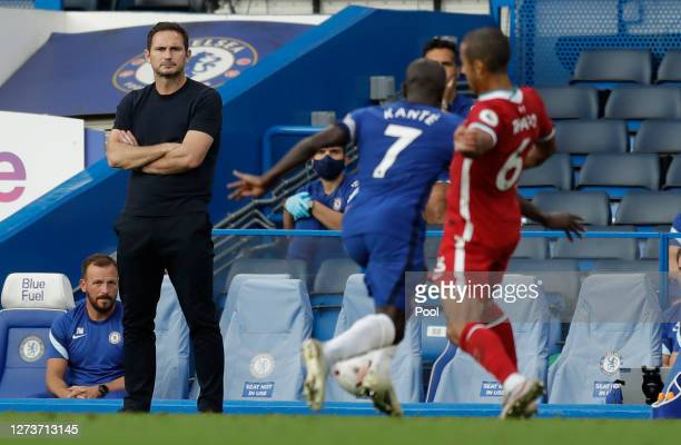 Frank Lampard Manager of Chelsea looks on during the Premier League match between Chelsea and Liverpool at Stamford Bridge on September 20 2020 in...