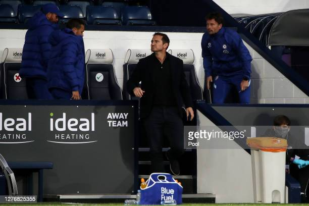 Frank Lampard Manager of Chelsea looks on during the Premier League match between West Bromwich Albion and Chelsea at The Hawthorns on September 26...