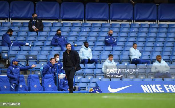 Frank Lampard Manager of Chelsea looks on during the Premier League match between Chelsea and Crystal Palace at Stamford Bridge on October 03 2020 in...