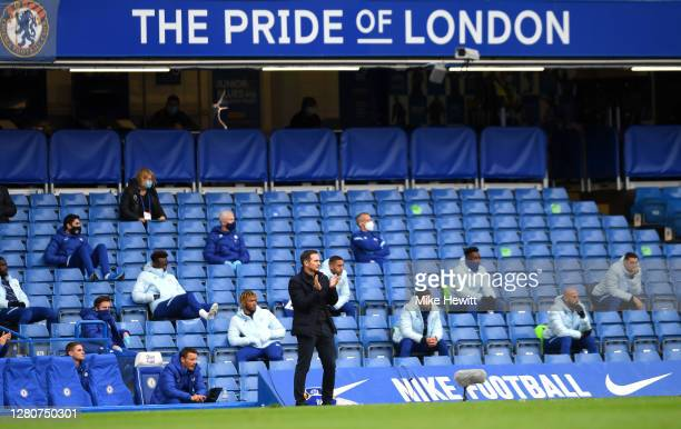 Frank Lampard Manager of Chelsea looks on during the Premier League match between Chelsea and Southampton at Stamford Bridge on October 17 2020 in...