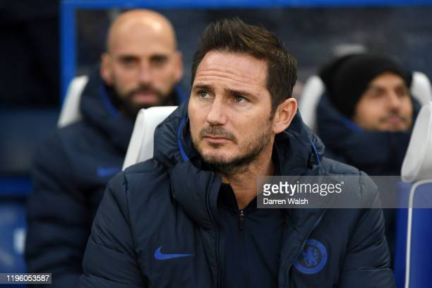 Frank Lampard Manager of Chelsea looks on prior to the Premier League match between Chelsea FC and Southampton FC at Stamford Bridge on December 26...