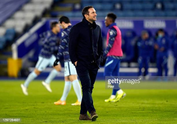 Frank Lampard, Manager of Chelsea looks on prior to the Premier League match between Leicester City and Chelsea at The King Power Stadium on January...