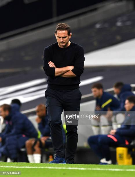 Frank Lampard Manager of Chelsea reacts during the Carabao Cup fourth round match between Tottenham Hotspur and Chelsea at Tottenham Hotspur Stadium...