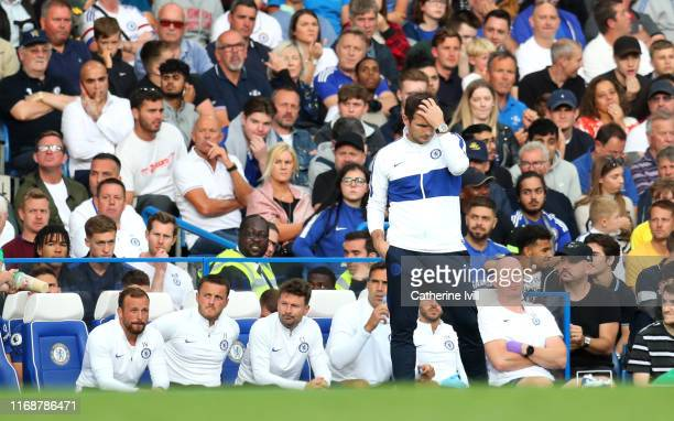 Frank Lampard Manager of Chelsea reacts during the Premier League match between Chelsea FC and Leicester City at Stamford Bridge on August 18 2019 in...