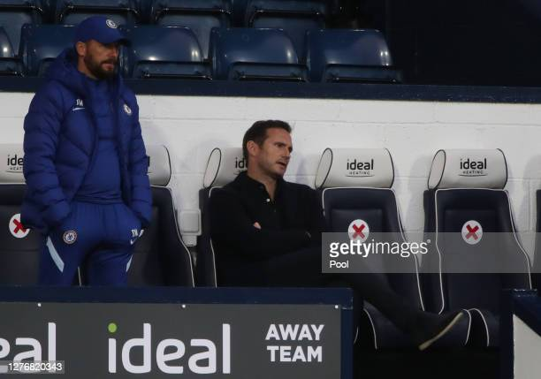 Frank Lampard Manager of Chelsea reacts during the Premier League match between West Bromwich Albion and Chelsea at The Hawthorns on September 26...