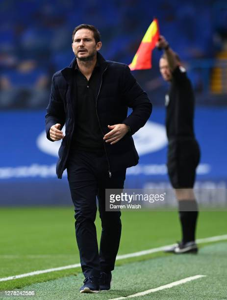 Frank Lampard Manager of Chelsea reacts during the Premier League match between Chelsea and Crystal Palace at Stamford Bridge on October 03 2020 in...