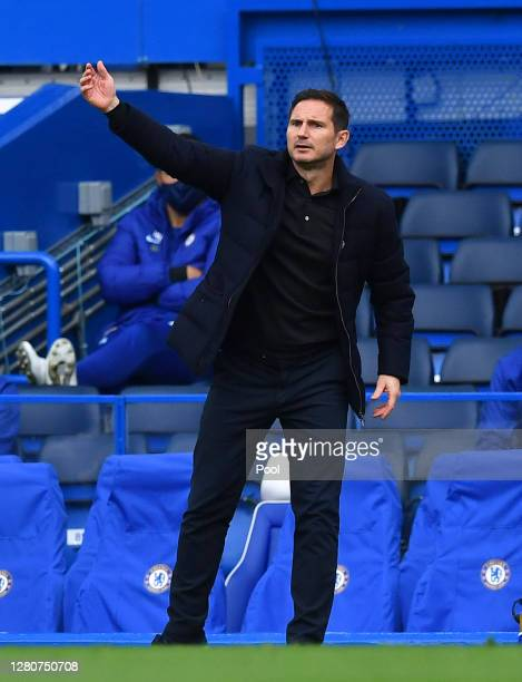 Frank Lampard Manager of Chelsea reacts during the Premier League match between Chelsea and Southampton at Stamford Bridge on October 17 2020 in...