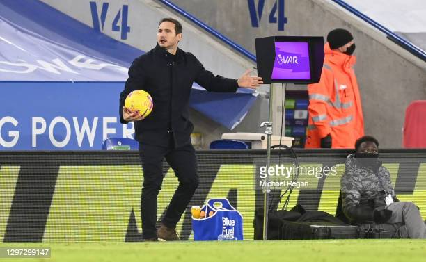 Frank Lampard, Manager of Chelsea reacts during the Premier League match between Leicester City and Chelsea at The King Power Stadium on January 19,...