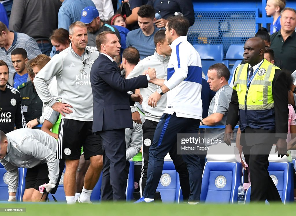 Frank Lampard, Manager of Chelsea shakes hands with Brendan