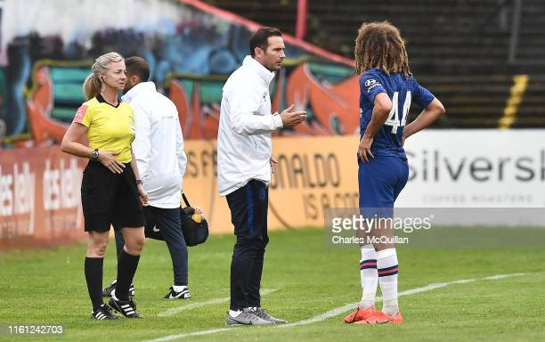 Frank Lampard Manager of Chelsea speaks to Ethan Ampadu of Chelsea during the PreSeason Friendly match between Bohemians FC and Chelsea FC at...