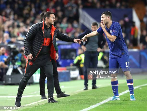 Frank Lampard, Manager of Chelsea talks to Mateo Kovacic of Chelsea during the UEFA Champions League group H match between Valencia CF and Chelsea FC...
