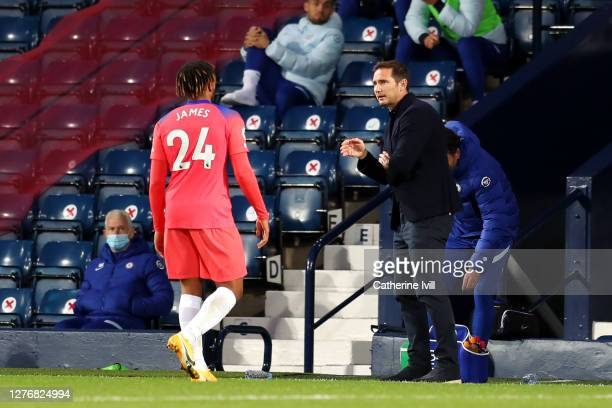 Frank Lampard Manager of Chelsea talks to Reece James during the Premier League match between West Bromwich Albion and Chelsea at The Hawthorns on...