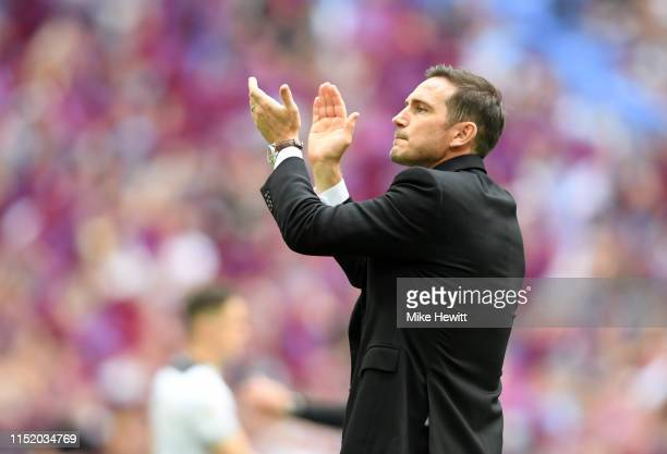 Frank Lampard Manager of Derby County applauds fans following defeat in the Sky Bet Championship Playoff Final match between Aston Villa and Derby...