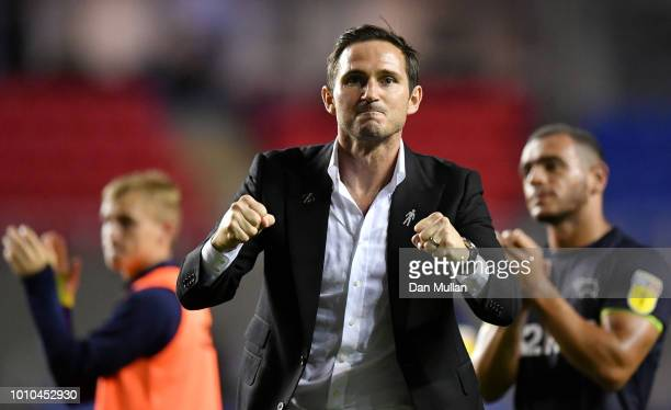 Frank Lampard Manager of Derby County celebrates following his sides victory in the Sky Bet Championship match between Reading and Derby County at...
