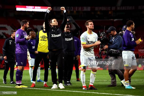 Frank Lampard Manager of Derby County celebrates following his sides victory in the Carabao Cup Third Round match between Manchester United and Derby...