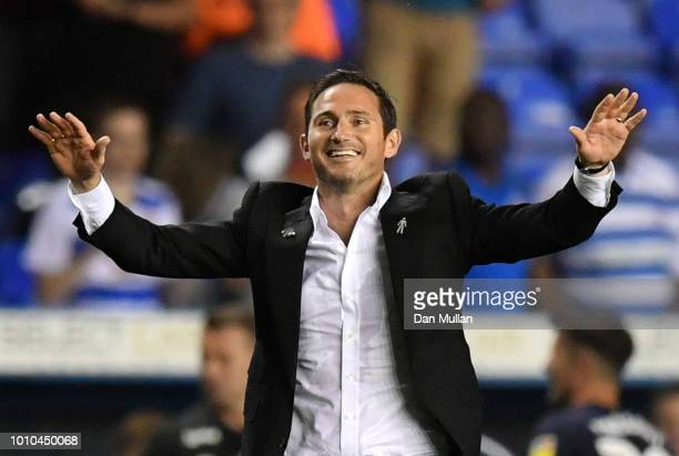 Frank Lampard Manager of Derby County celebrates following his team's victory in the Sky Bet Championship match between Reading and Derby County at...