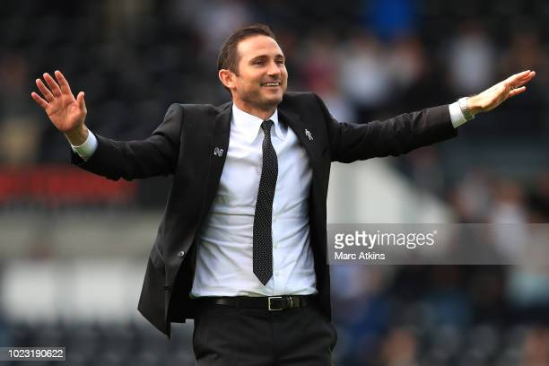 Frank Lampard manager of Derby County celebrates the win after the Sky Bet Championship match between Derby County and Preston North End at Pride...