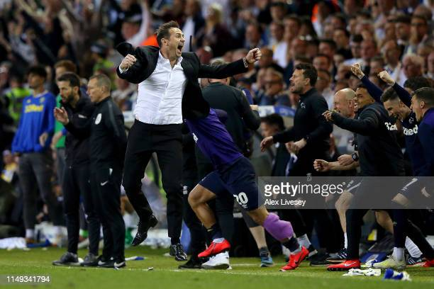 Frank Lampard Manager of Derby County celebrates victory following the Sky Bet Championship Playoff semi final second leg match between Leeds United...