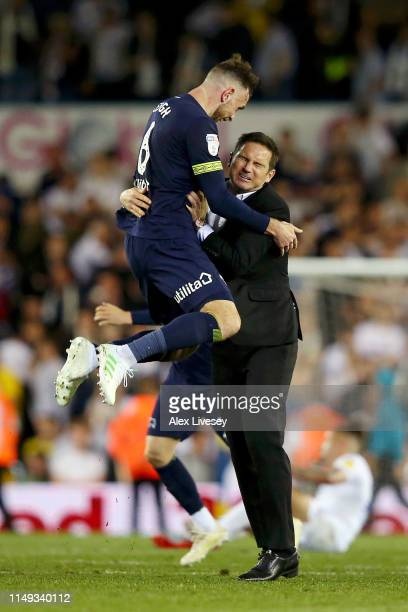 Frank Lampard Manager of Derby County celebrates victory with Richard Keogh of Derby County following the Sky Bet Championship Playoff semi final...