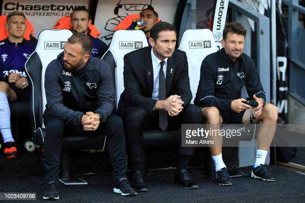 Frank Lampard manager of Derby County flanked by Assistant manager Jody Morris and First Team Coach Chris Jones during the Sky Bet Championship match...