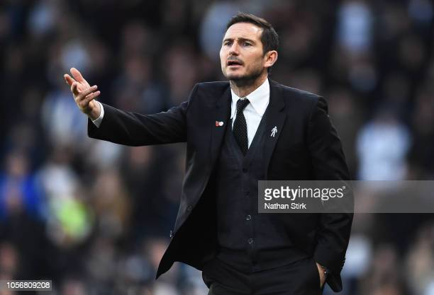 Frank Lampard manager of Derby County gestures during the Sky Bet Championship match between Derby County and Birmingham City at Pride Park Stadium...