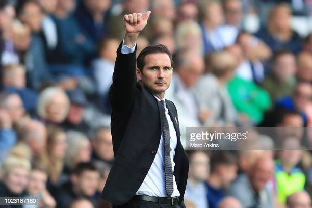 Frank Lampard manager of Derby County gives a thumbs up during the Sky Bet Championship match between Derby County and Preston North End at Pride...