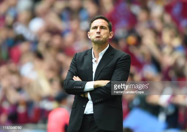 Frank Lampard Manager of Derby County looks dejected after his team concedes during the Sky Bet Championship Playoff Final match between Aston Villa...
