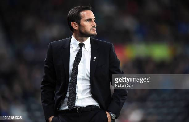 Frank Lampard manager of Derby County looks on during the Sky Bet Championship match between Derby County and Norwich City at Pride Park Stadium on...