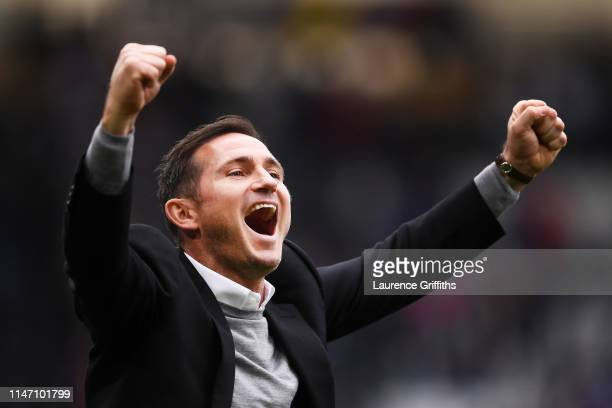 Frank Lampard Manager of Dersby County celebrates after the Sky Bet Championship match between Derby County and West Bromwich Albion at Pride Park...