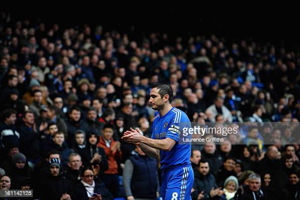 Frank Lampard of Chelsea applauds the fans during the Barclays Premier League match between Chelsea and Wigan Athletic at Stamford Bridge on February...