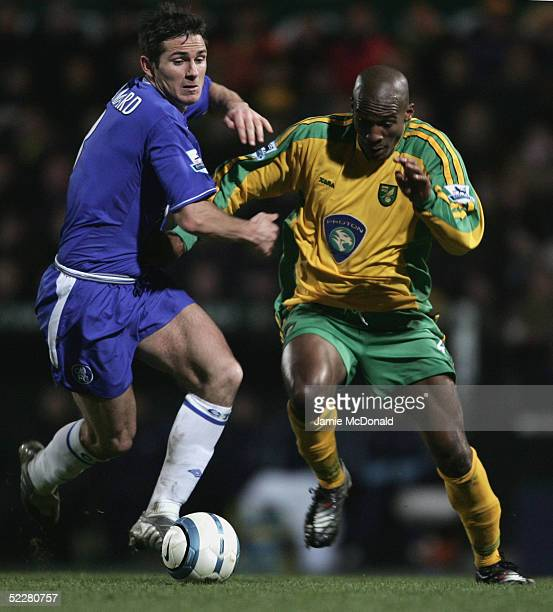 Frank Lampard of Chelsea battles with Damien Francis of Norwich during the Barclays Premiership match between Norwich City and Chelsea at Carrow Road...