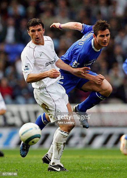 Frank Lampard of Chelsea beats Gary Speed of Bolton Wanderers during the Barclays Premiership match between Bolton Wanderers and Chelsea at the...