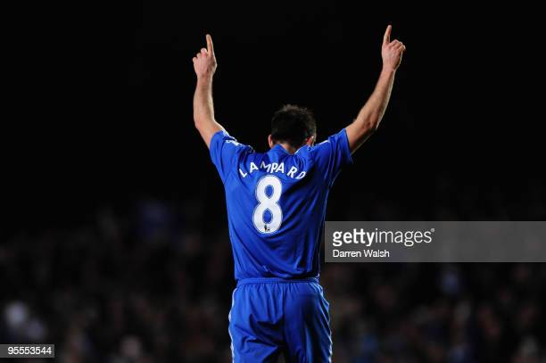 Frank Lampard of Chelsea celebrates after he scores during the FA Cup sponsored by EON Final 3rd round match between Chelsea and Watford at Stamford...