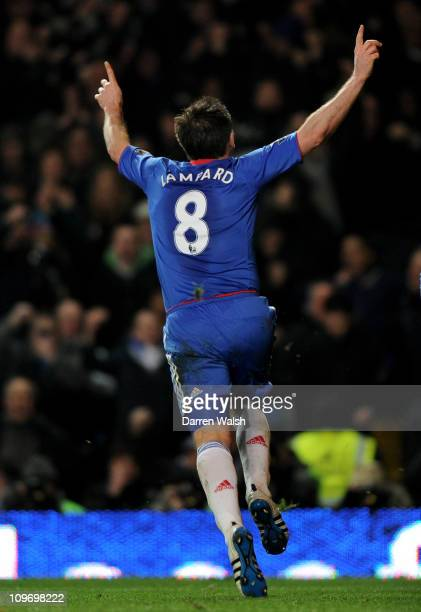 Frank Lampard of Chelsea celebrates after scoring a penalty during the Barclays Premier League match between Chelsea and Manchester United at...