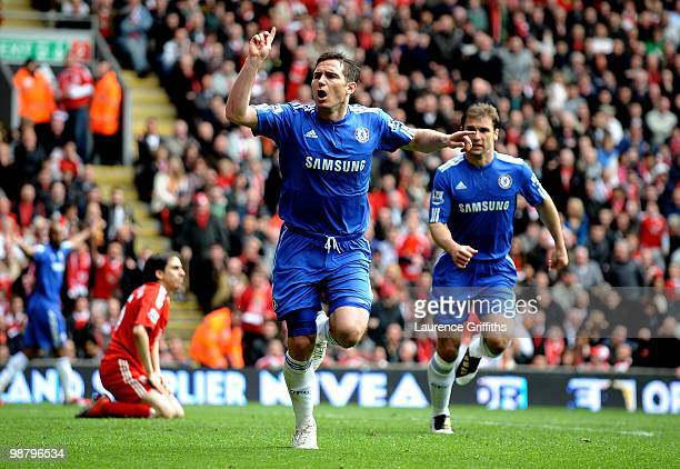 Frank Lampard of Chelsea celebrates after scoring his team's second goal during the Barclays Premier League match between Liverpool and Chelsea at...