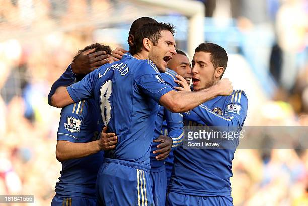 Frank Lampard of Chelsea celebrates after scoring their third goal during the FA Cup Fourth Round Replay between Chelsea and Brentford at Stamford...